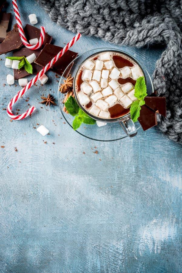 Cioccolata calda con la menta e la caramella gommosa e molle fotografie stock