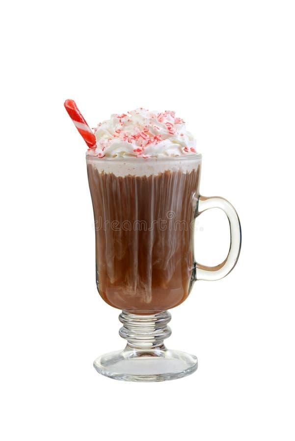 Cioccolata calda del bastoncino di zucchero con il bastone della menta piperita immagine stock