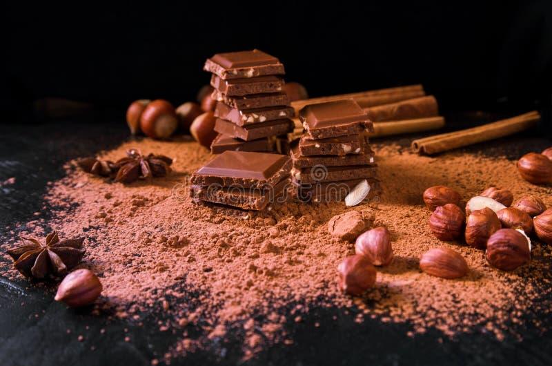 Cioccolato al latte con i dadi, il cacao in polvere e la cannella sul fondo scuro della tavola immagini stock