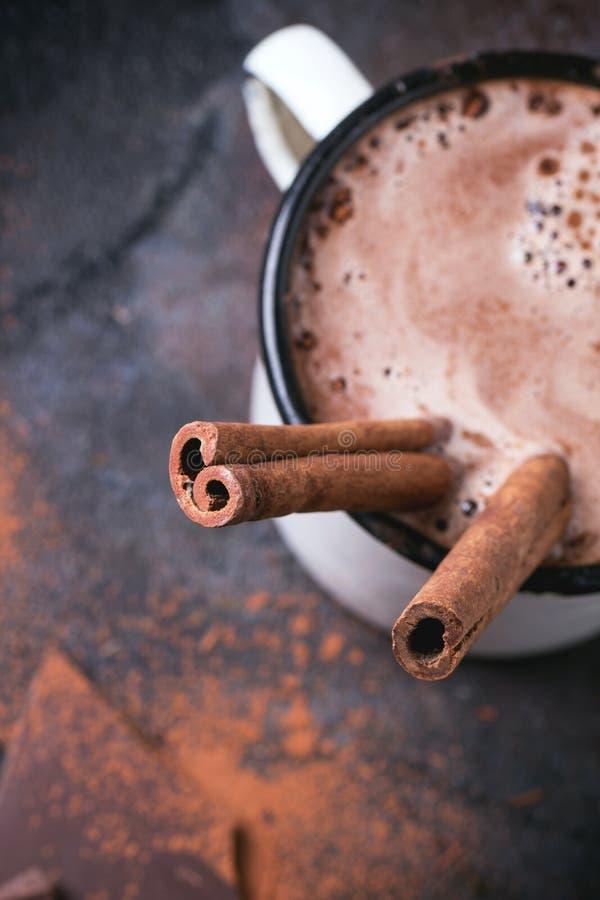 Cioccolato caldo con cannella fotografie stock libere da diritti