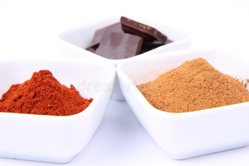 Cioccolato, cannella e peperoncino rosso immagine stock