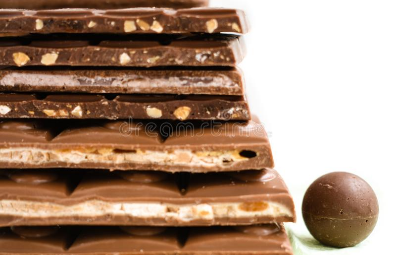 Cioccolato con l'alimento del cacao della barra matta fotografie stock libere da diritti