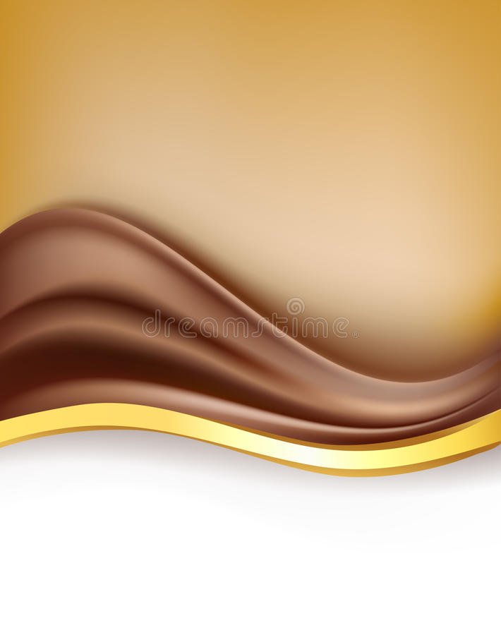 Cioccolato cremoso con il fondo dorato del confine royalty illustrazione gratis