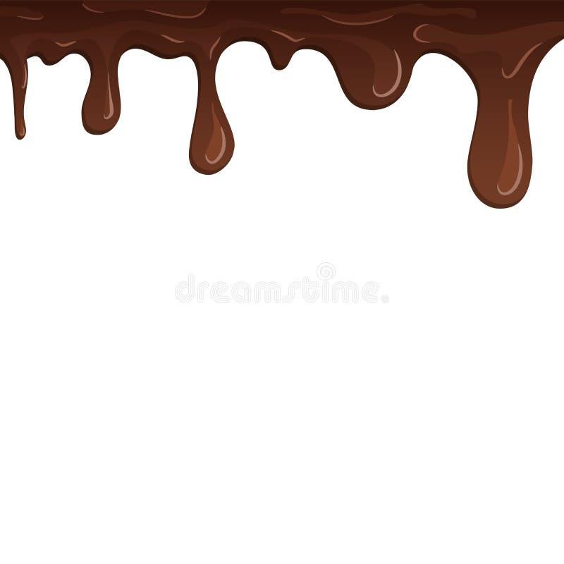 Cioccolato della sgocciolatura Gocciola il cioccolato, fondo bianco isolato Dessert dolce fluido della colata Liquido saporito de illustrazione di stock