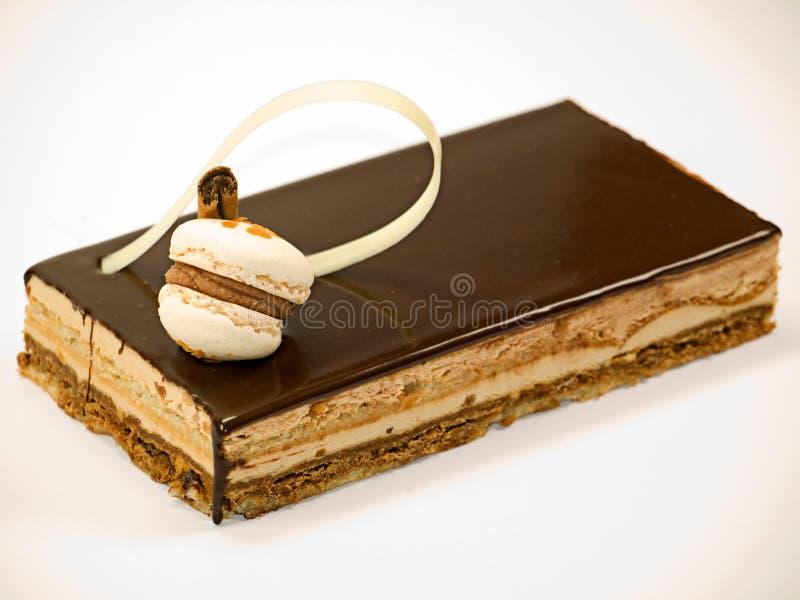 Cioccolato della torta con crema immagine stock