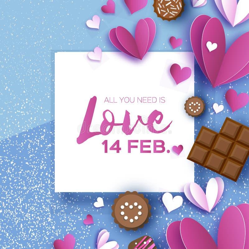 Cioccolato di amore Cartolina d'auguri di giorno dei biglietti di S La carta bianca rossa dei cuori ha tagliato lo stile ed il de illustrazione vettoriale