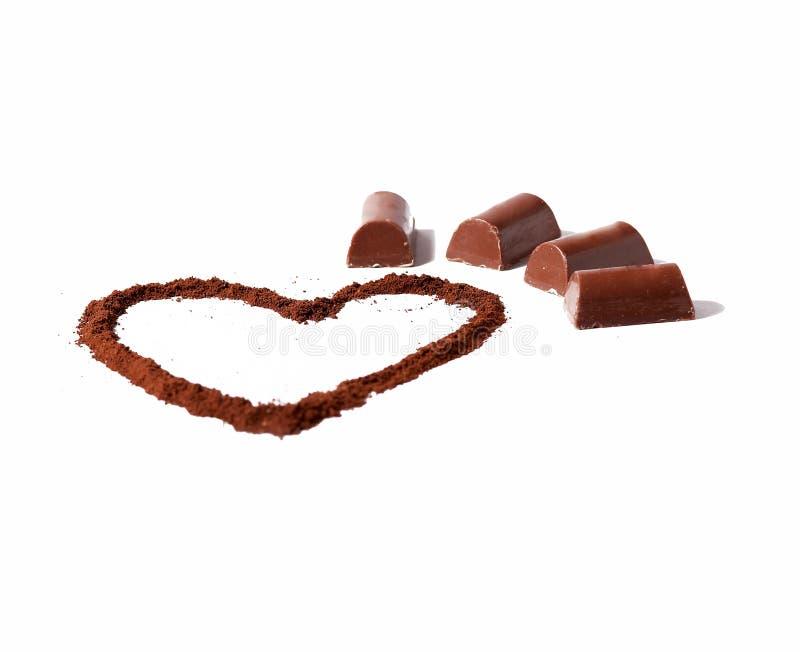 Cioccolato e cuore di cacao fotografia stock libera da diritti