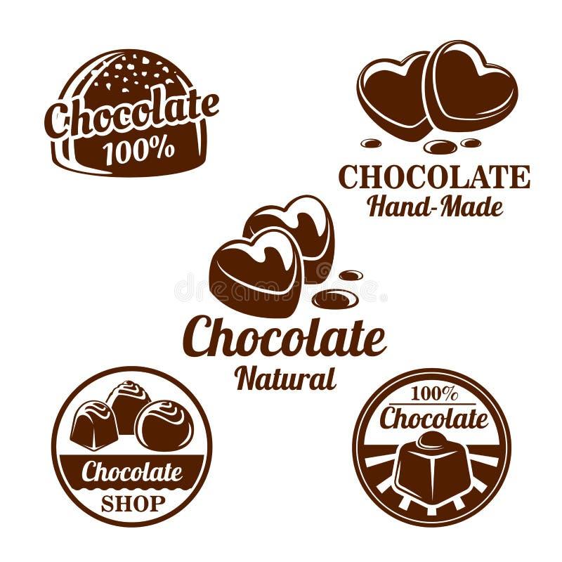 Cioccolato, insieme di simboli dei dolci del cacao per progettazione dell'alimento illustrazione di stock