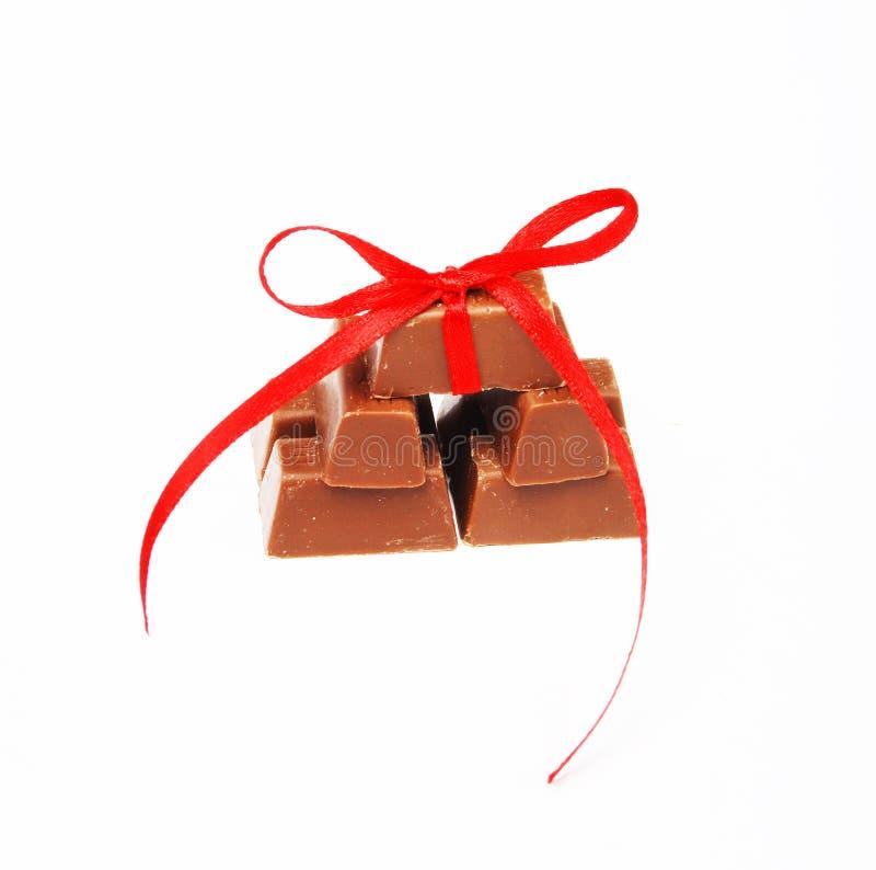 Cioccolato legato del nodo fotografia stock