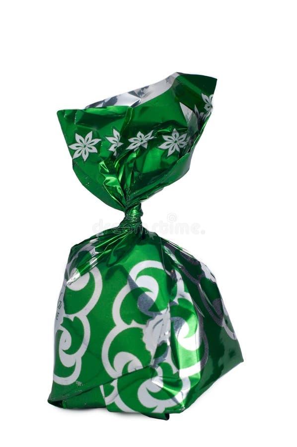 cioccolato nello spostamento verde fotografia stock