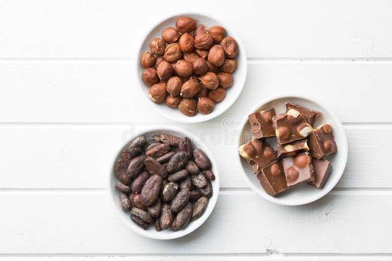 Cioccolato, nocciole e fave di cacao immagini stock