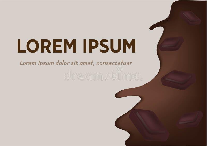 Cioccolato scorrente o cacao della spruzzata realistica con i pezzi del cioccolato Elementi di disegno di vettore illustrazione di stock
