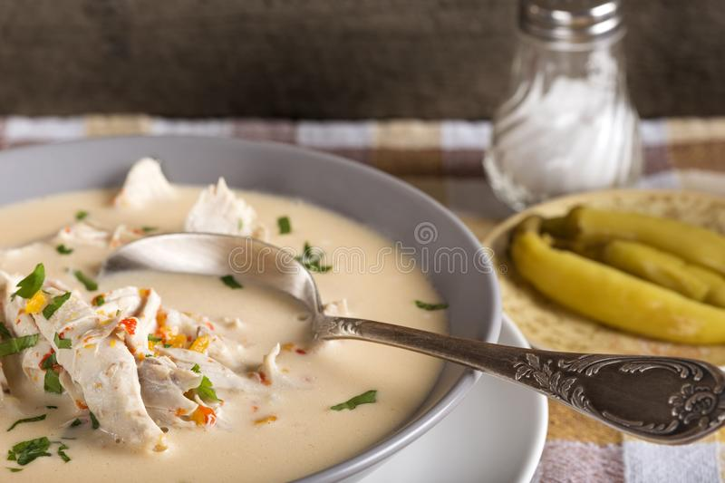 Ciorba Radauteana, traditionelle rumänische Suppe lizenzfreie stockfotos