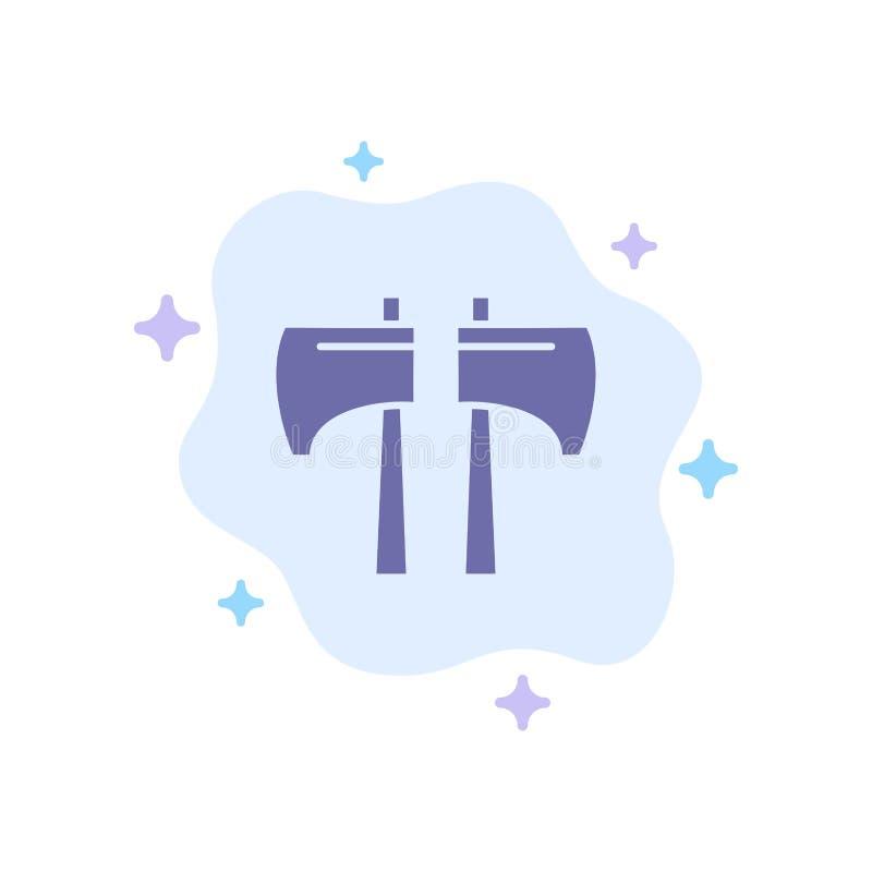 Cioska, kotlecik, Lumberjack, Narzędziowa Błękitna ikona na abstrakt chmury tle royalty ilustracja