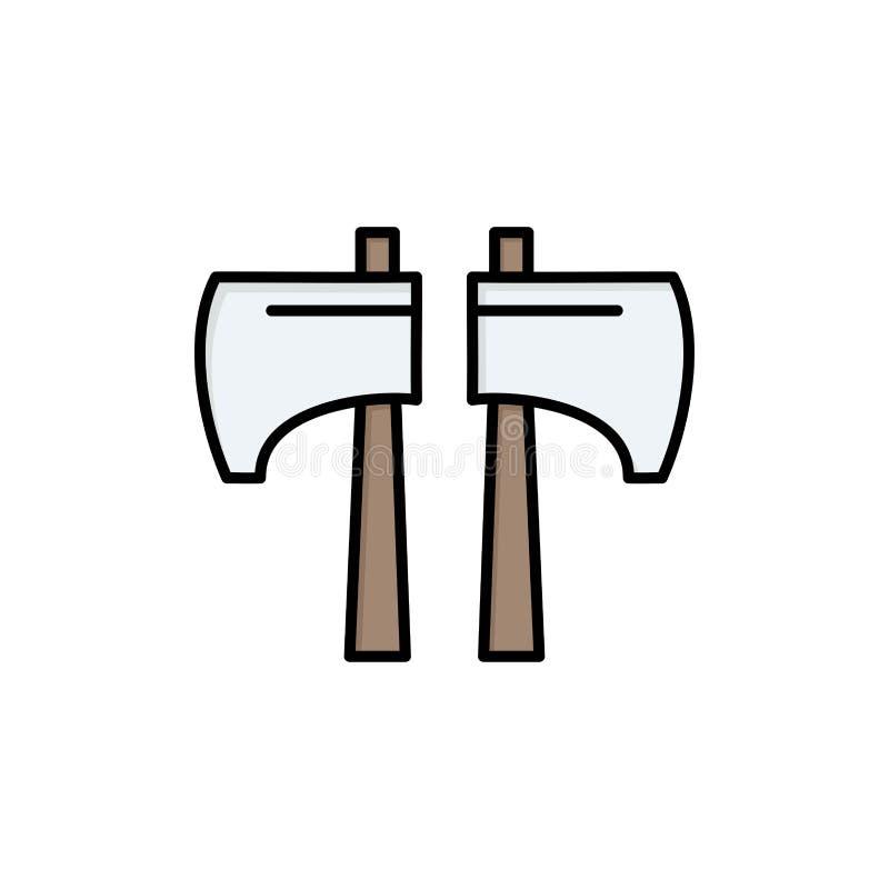 Cioska, kotlecik, Lumberjack, Narzędziowa Płaska kolor ikona Wektorowy ikona sztandaru szablon ilustracji