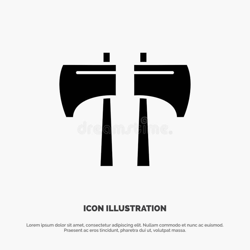 Cioska, kotlecik, Lumberjack, Narzędziowa Stała Czarna glif ikona royalty ilustracja