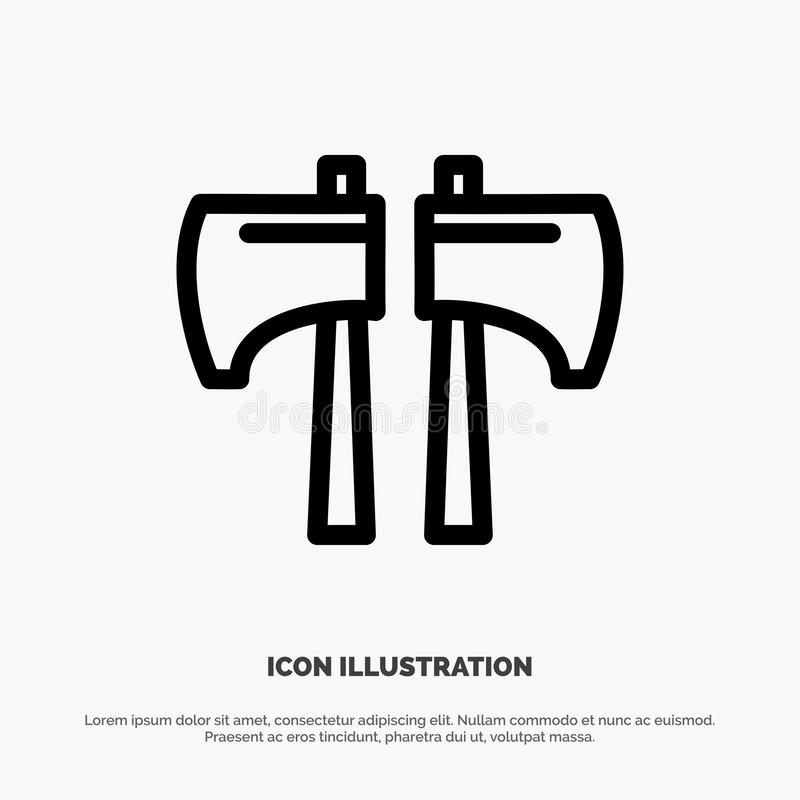Cioska, kotlecik, Lumberjack, Narzędziowa wektor linii ikona ilustracji