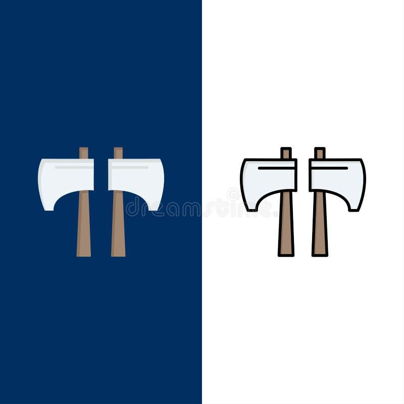 Cioska, kotlecik, Lumberjack, Narzędziowe ikony Mieszkanie i linia Wypełniający ikony Ustalony Wektorowy Błękitny tło ilustracji