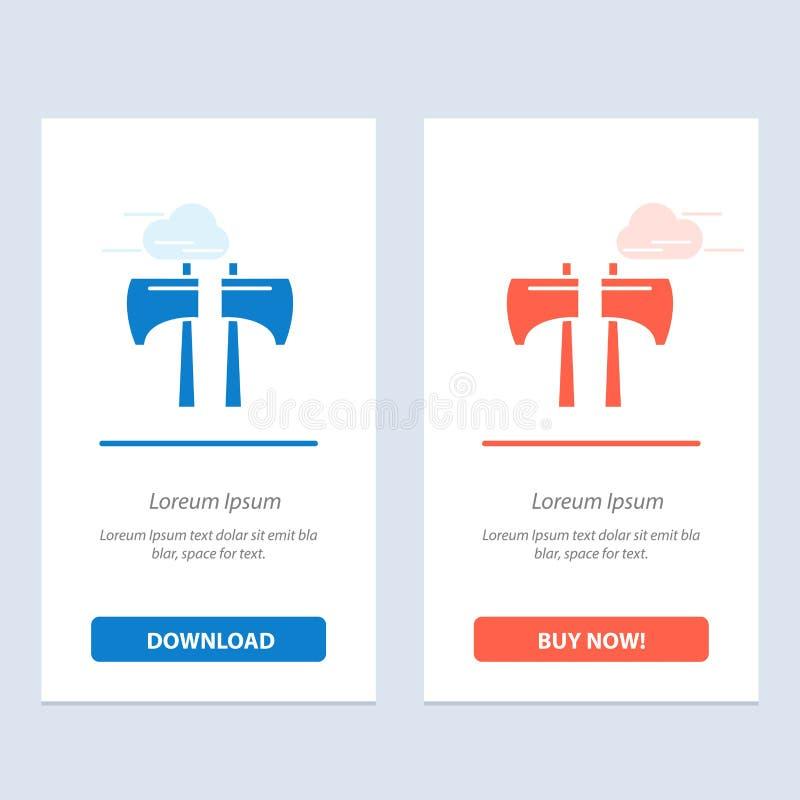 Cioska, kotlecik, Lumberjack, Narzędziowy sieci Widget karty szablon, Błękitnej, Czerwonej i ściągania i zakupu Teraz ilustracji