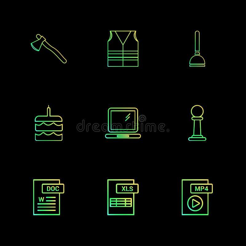Cioska, zbawcza kurtka, pompa, tort, słowo dokument, laptop, mp4 ilustracji