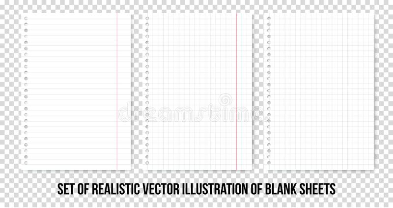 Ciosowi i prążkowani papierowi prześcieradła Wektorowy realistyczny papieru prześcieradło linie i kwadrata notepad strony ustawia ilustracji