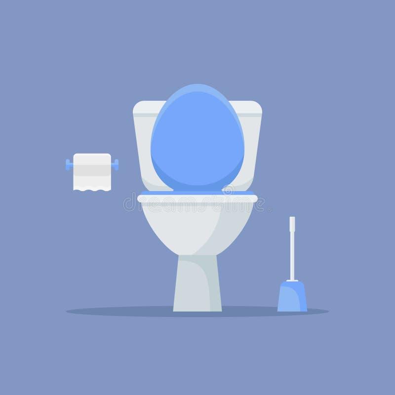 Ciotola, carta e spazzola di toilette Illustrazione piana di vettore di stile illustrazione di stock