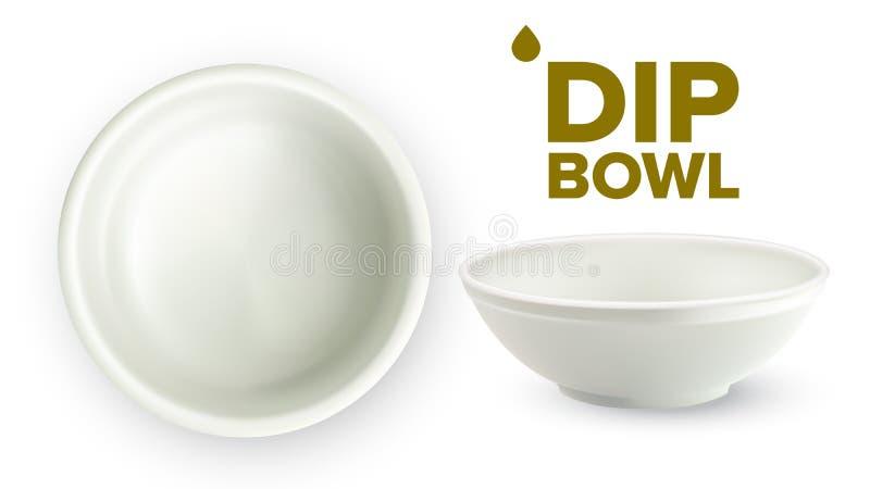 Ciotola ceramica bianca vuota della immersione per il vettore delle salse illustrazione di stock