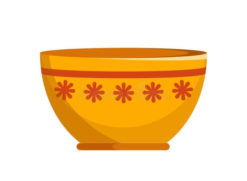 Ciotola ceramica capace con il piccolo modello di fiori illustrazione di stock