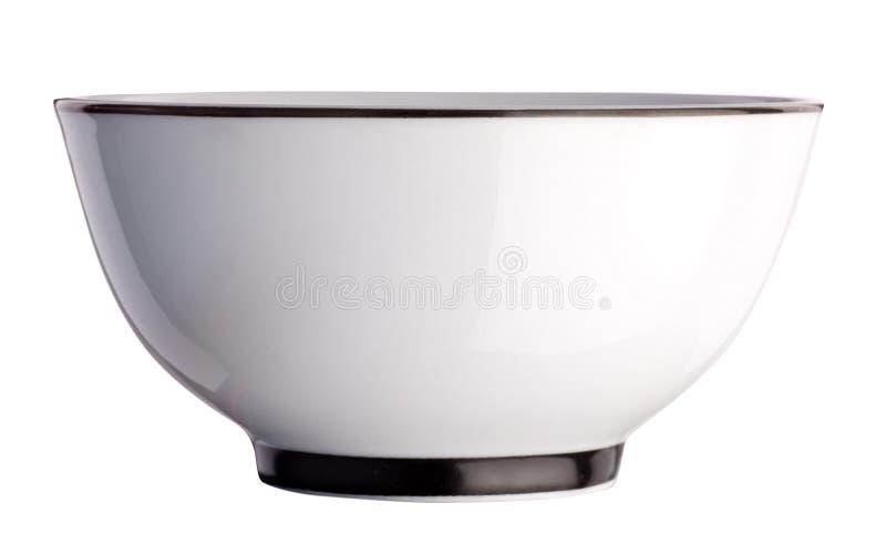 Ciotola ceramica del tè isolata su bianco fotografia stock