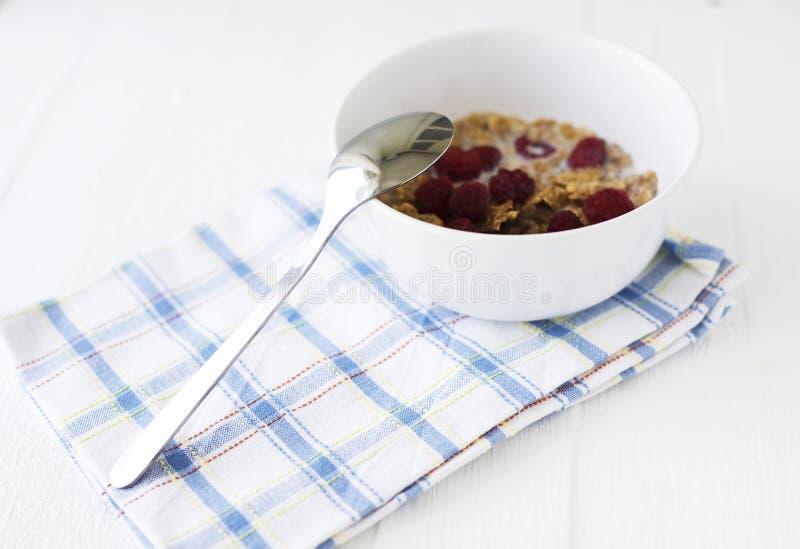 Ciotola con i cereali ed i lamponi immagini stock libere da diritti