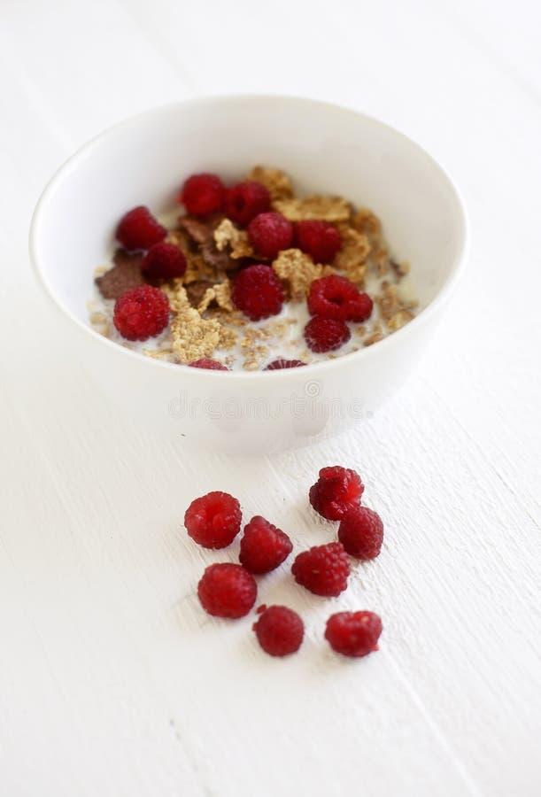 Ciotola con i cereali ed i lamponi immagini stock
