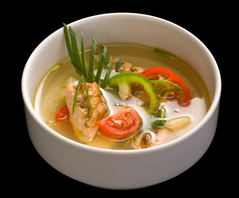 Ciotola con la minestra del pesce, fine su immagine stock