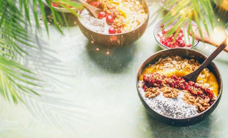Ciotola del mango del frullato con il budino del yogurt dei semi di chia ed i mirtilli rossi, dadi, farina d'avena che completa n immagini stock libere da diritti