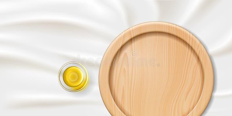 Ciotola della cristalleria con l'essenza d'eucalipto ed il piatto illustrazione di stock