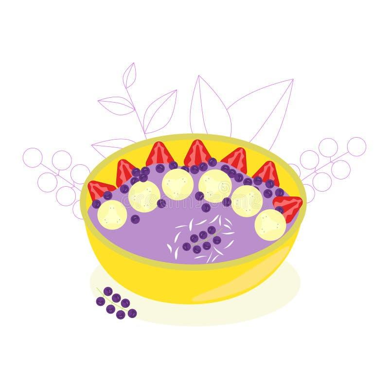 Ciotola della prima colazione del frullato Ciotola di frutta completata con le fragole, i mirtilli ed i fiocchi della noce di coc illustrazione di stock