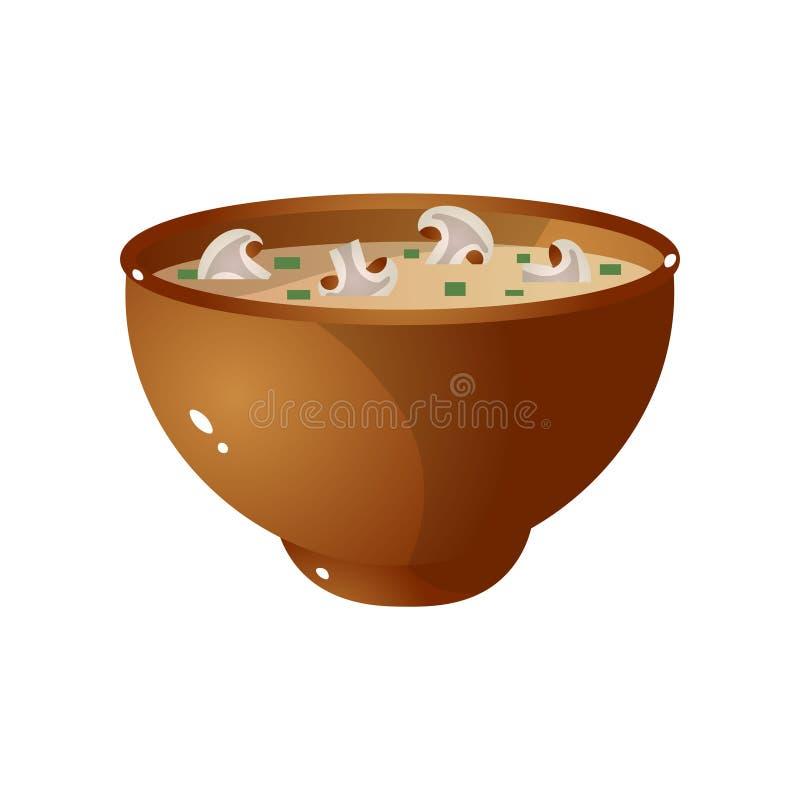 Ciotola di Brown di minestra calda del fungo fresco con insalata verde royalty illustrazione gratis