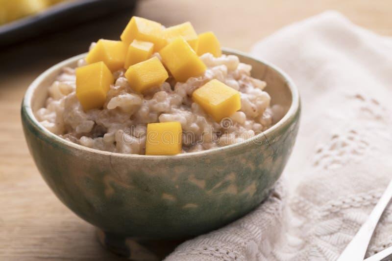 Ciotola di budino di riso fotografie stock