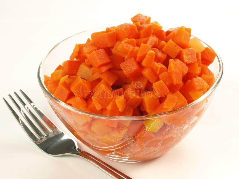 Boiled ha tagliato la carota a pezzi fotografie stock