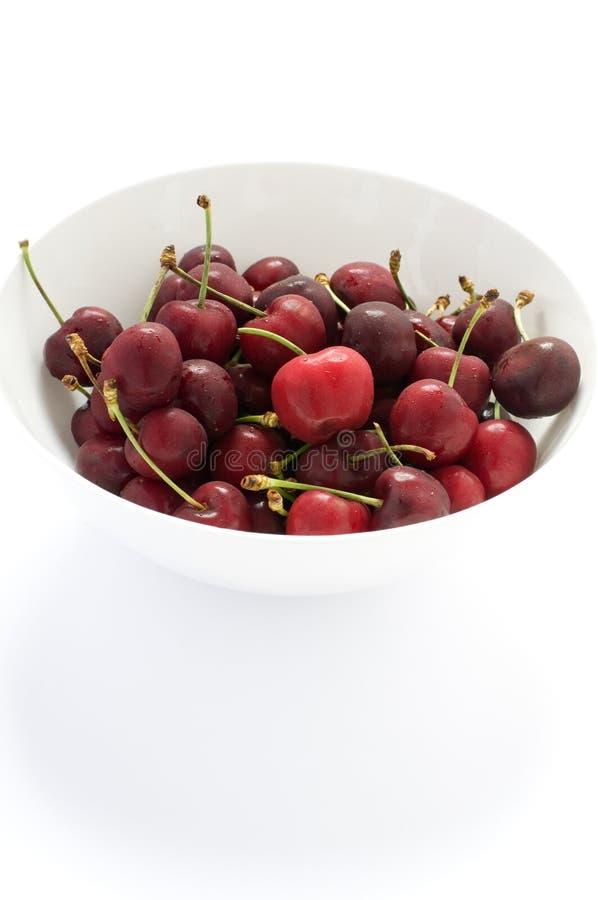 Ciotola di ciliegie fresche fotografia stock