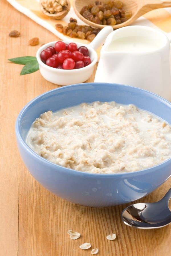 Ciotola di farina d'avena con la bacca ed il latte immagine stock