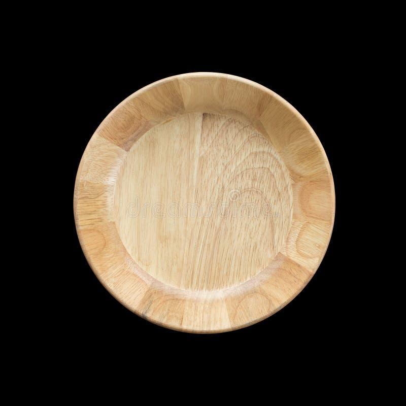 Ciotola di legno vuota luminosa di vista superiore isolata su bianco Risparmiato con fotografie stock