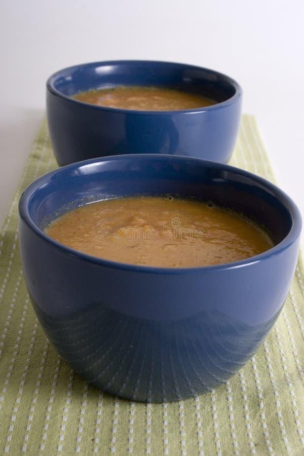 Ciotola di minestra del pomodoro sul backgrou bianco fotografie stock libere da diritti