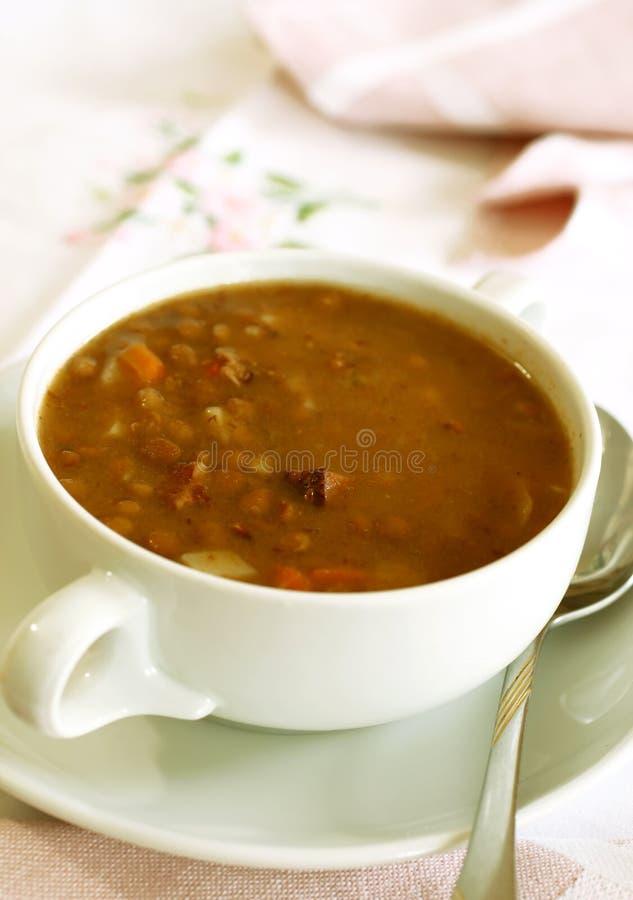Ciotola di minestra di lenticchia fotografie stock