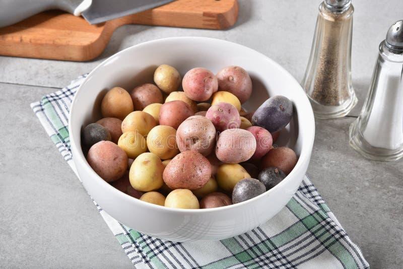 Ciotola di patate minuscole fotografie stock libere da diritti