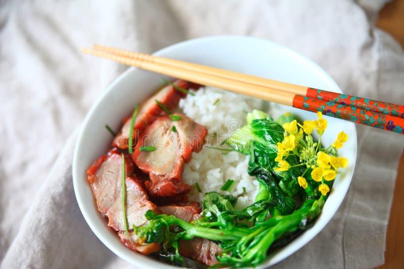 Ciotola di riso con l'arrosto di maiale fotografie stock libere da diritti