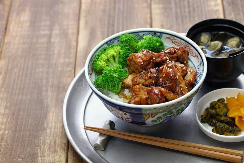 Ciotola di riso del pollo di Teriyaki fotografie stock libere da diritti