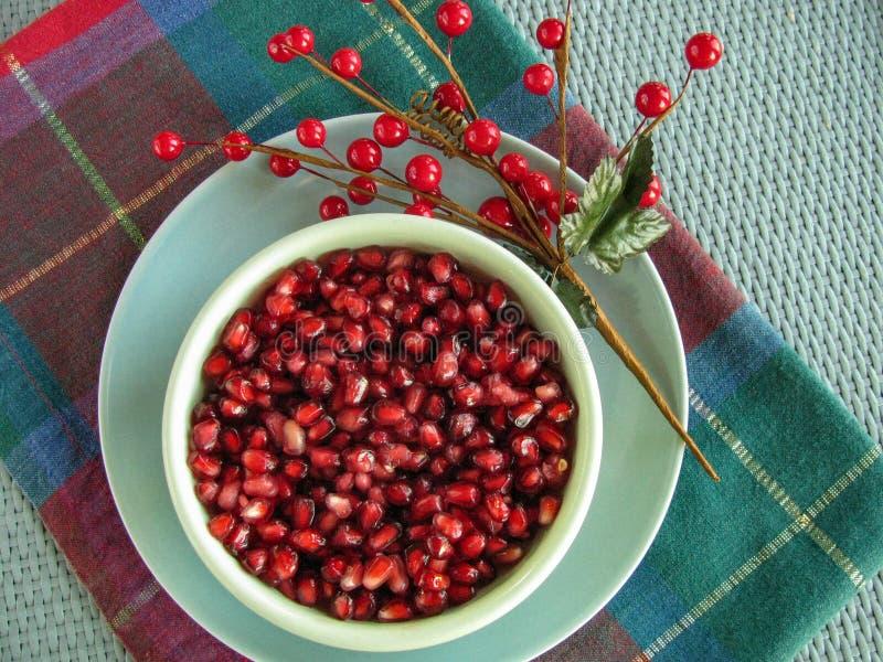 Ciotola di semi del tipo di gioiello freschi del melograno fotografia stock