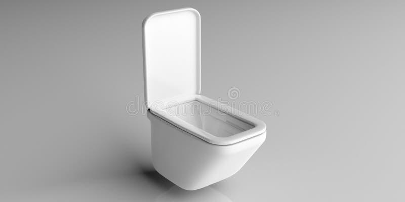 Ciotola di toilette bianca isolata su fondo grigio illustrazione 3D illustrazione di stock