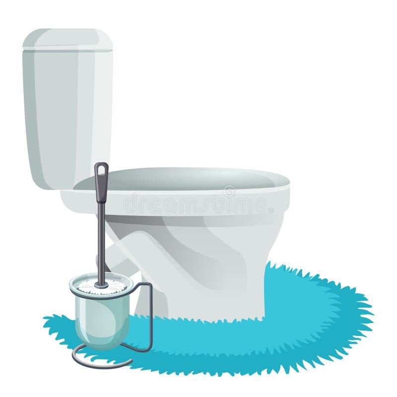 Ciotola di toilette bianca sulle icone blu della spazzola di pulizia e della coperta royalty illustrazione gratis