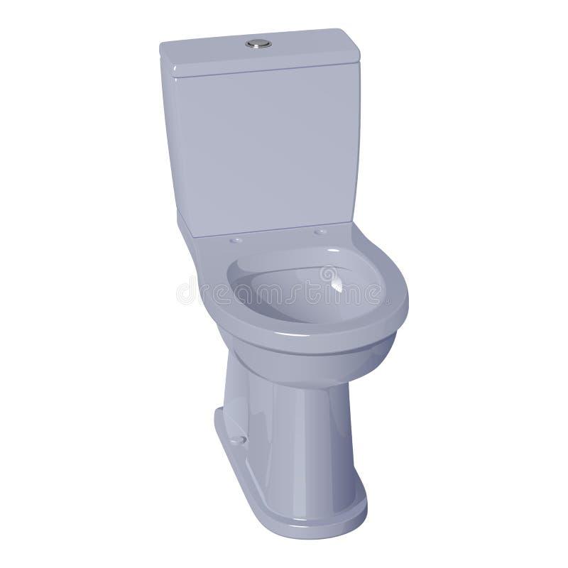 Ciotola di toilette ceramica grigio chiaro illustrazione vettoriale
